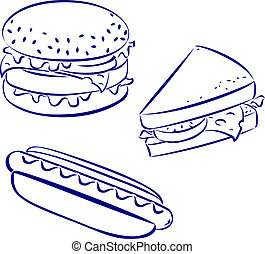 Fast food icons, black and white hand-drawn look: hamburger,...