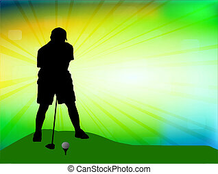 Golfer on field, vector illustration
