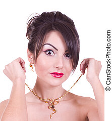 woman with golden jewelry