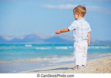 Little cute boy on the beach - Little cute boy on the...