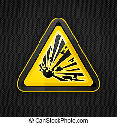 Hazard warning triangle explosive sign on a metal surface,...