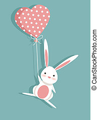 Valentine card with a cute bunny