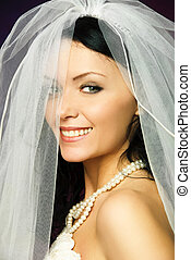 sexy brunette bride - studio portrait of a sexy brunette...