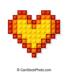 Heart made from plastic blocks vector illustration