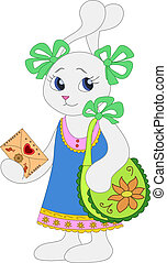 Hare girl with a envelope