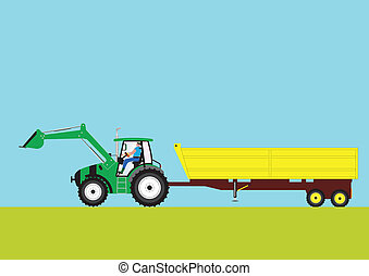 Green Tractor and Trailer - A Green Farm Tractor pulling a...