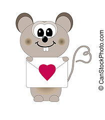 mouse in love vector