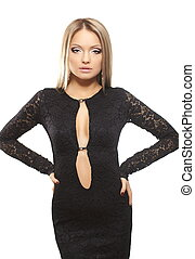 Sexy beautiful blond lady in black dress bright makeup isolated on white