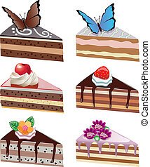 vector cake slices with fruits, chocolate, butterflies and flowers