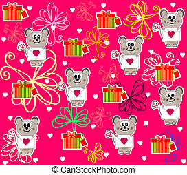 Seamless with cute mouse for Valentines Day vector