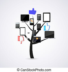 Concept technology tree. Vector illustration