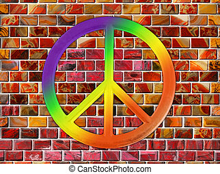 peace sign - A peace sign with rainbow colors on a wall from...