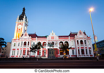 city hall of East London, South Africa - night view of city...