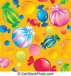 sweets and sugar candies - Seamless background with bright...