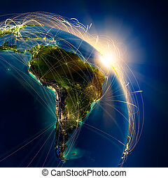 Main air routes in South America - Highly detailed planet...