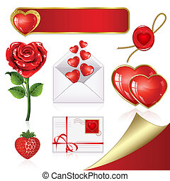 Collection of design elements on Valentine's Day