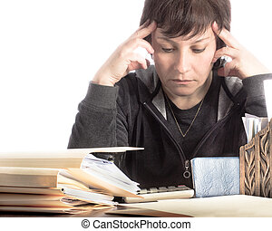 Stressed woman with Bills - Stressed woman working on income...