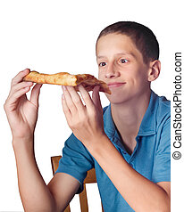 Pizza Eater - Hungry boy with comical expression holding a...