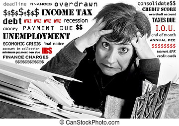 Woman at Income Tax Time - Stressed woman surrounded by...