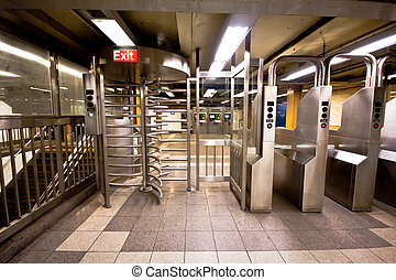 Subway Turnstile - Turnstile in typical NYC subway