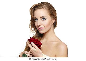 Portrait of sensual beautiful woman with red rose on white background ong curly hair,bright makeup