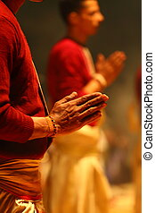 An unidentified Hindu priest during religious Ganga Aarti...