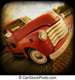 Retro Pickup - Vintage retro pickup truck with textured look