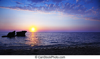 Sunset on the beach - Beautiful sunset on the beach,...