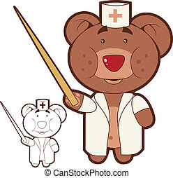 Bear doctor - Dr Bear holding a pointer Insulated vector...