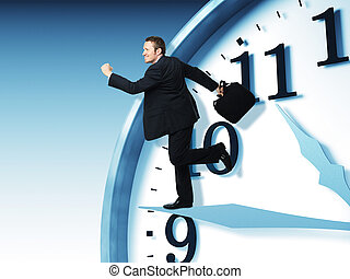 just in time - businessman run on 3d clock