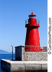 Red Lantern, Giglio Island, Italy - Red port lantern on the...