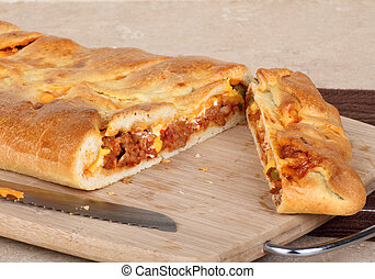 Sliced Stromboli - Sliced stromboli with sausage and cheese...