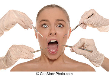 frightened woman on reception at the dentists isolated on...
