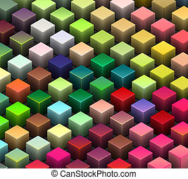isometric 3d render of beveled cubes in multiple bright...