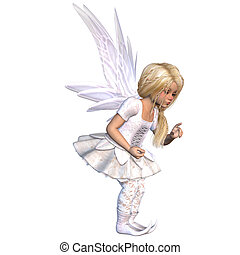 cute fairy - a little cute fairy - isolated on white