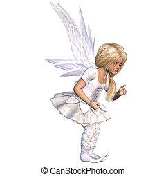 cute fairy - a little cute fairy - isolated on white