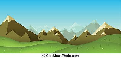 Mountain Range - Illustration of a cartoon mountain range...