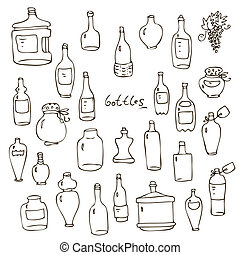 Bottles vector set - Set from hand-drawn wine beer water...