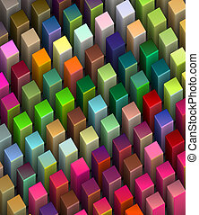 frog view 3d render of beveled cubes in multiple bright colors