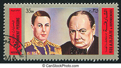 Churchill - SHARJAH AND DEPENDENCIES - CIRCA 1970: stamp...