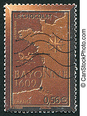 Chocolate Bayonne - FRANCE - CIRCA 2009: stamp printed by...