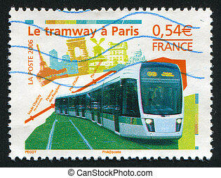 new Paris tramway - FRANCE - CIRCA 2006: stamp printed by...