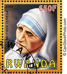 Mother Teresa - RWANDA - CIRCA 2009: stamp printed by...