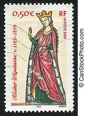 Queen Eleanor of Aquitaine - FRANCE - CIRCA 2004: stamp...