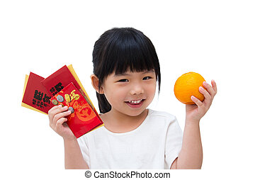 Happy Chinese New Year - Adorable little girl holding an...