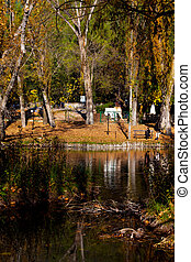 Campello Sul Clitunno, Umbria, Italy - Pond and park at...