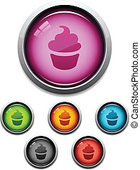 Cupcake button icon - Glossy cupcake button icon set in 6...