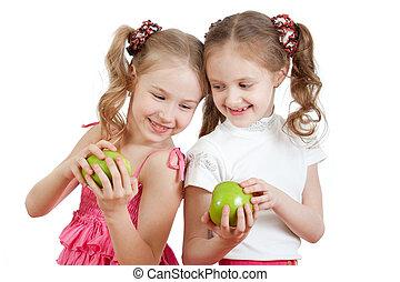maçã, saudável, meninas, dois, alimento, verde