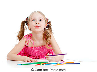 dreamy girl with pencils on white - dreamy girl with pencils...