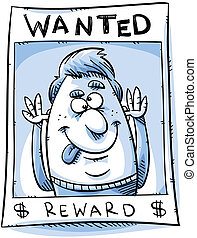 Crazy Criminal - A crazy criminal mocks from a wanted poster...